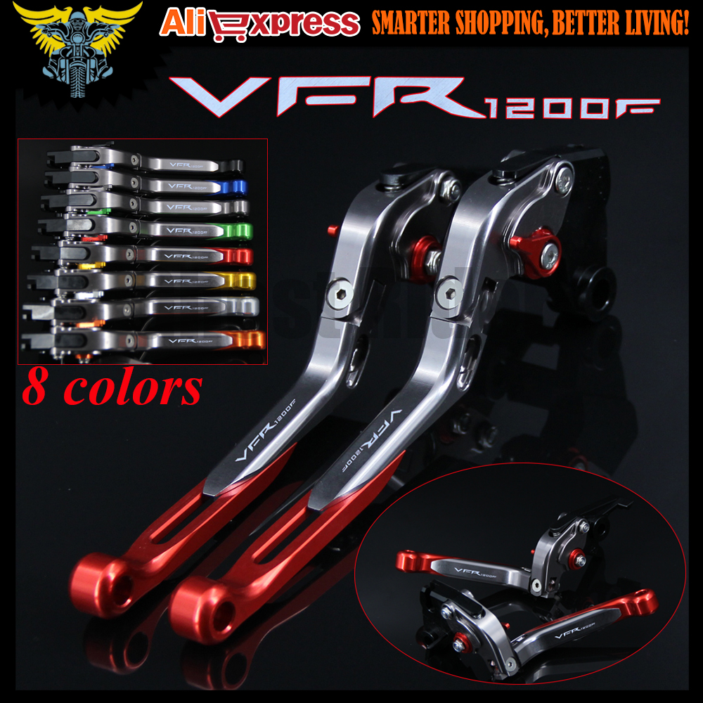 Laser Logo(VFR1200F) Red+Titanium New CNC Motorcycle Brake Clutch Levers For Honda VFR 1200/F 2010 2011 2012 2013 2014 2015 2016