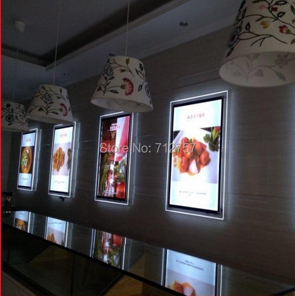 10 единиц настенный A4 тонкая акриловая рамка со светодиодной освещенное меню Панель Лайтбокс для меню для ресторана