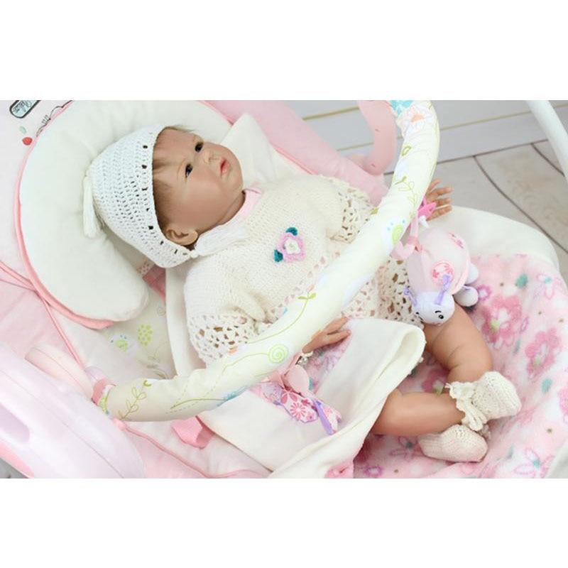 Lifelike Girl Reborns 22'' Soft Silicone Baby Dolls Wear White Wool Weave Dress Set True To Life Bonecas Birthday Xmas Gifts