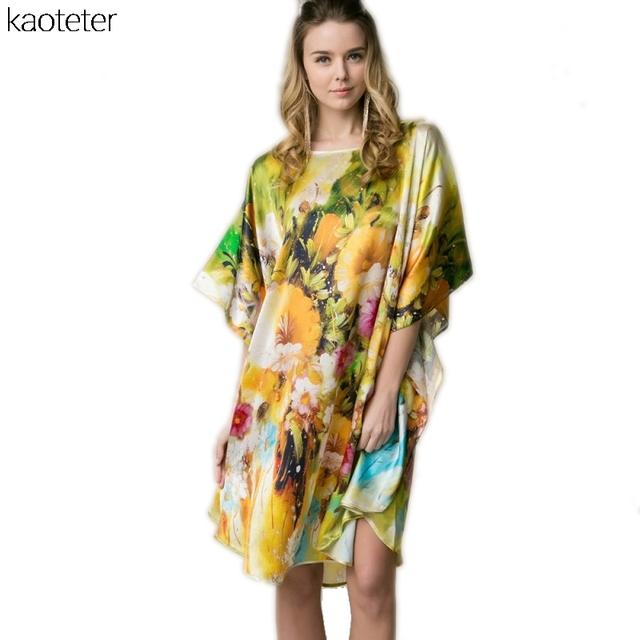 100% Mulheres De Seda Real Solto Homewear Loungewear Noite Saia Uma Peça Plus Size Desgaste Casa Pintado À Mão Amarela Nightgowns YBP098