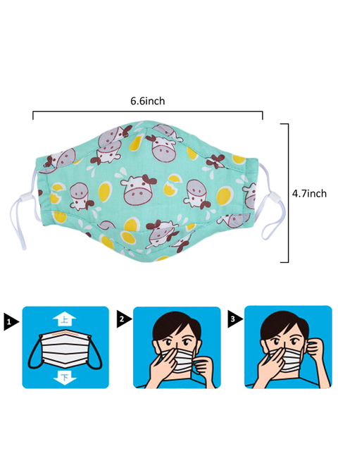 Mouth Masks Cartoon Printing Dustproof Breathable Kids Cotton Mouth Face Nose Mask Cover With Filter Respirator Anti-Dust 4
