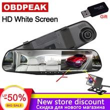 Videocamera per auto A Doppia Lente Auto DVR Specchio Retrovisore Dash Cam Auto Dvr Video Recorder Registrator FHD 1080 P Bianco Specchio Videocamera