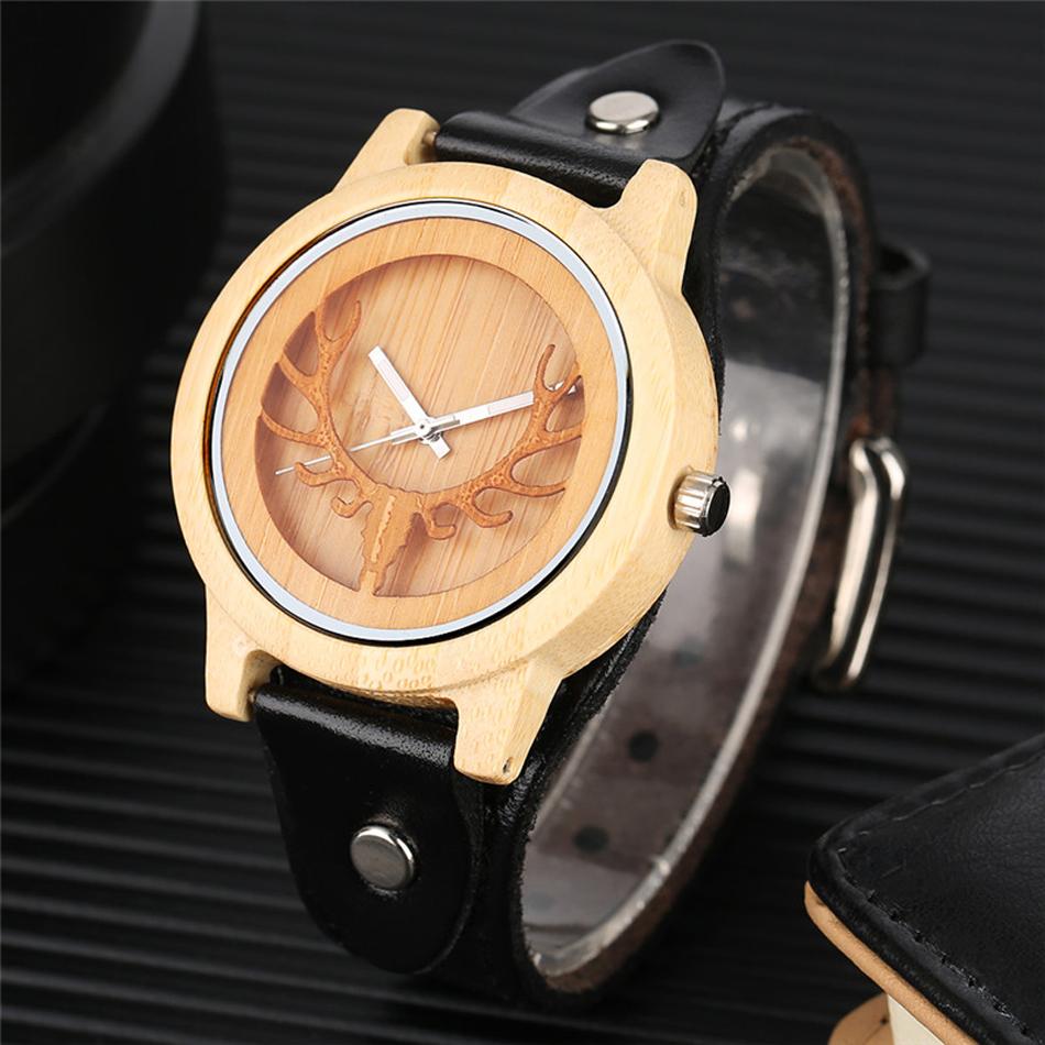 YISUYA Deer Wooden Watch Men's Bamboo Leather Wood Quartz Watches Gift relogio de madeira (7)