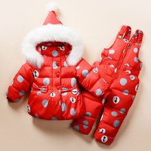 цена на 2018 Baby Kids Casual Down Clothing Sets Baby Girls Russian Winter Rain Printing Jacket+Pant Two-piece Babe Boys Hooded Warm Set