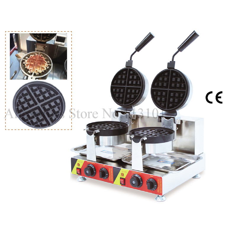Rotary waffle machine 2 pans electric waffle maker  stainless steel waffle baker with two heads rotary round waffle baker waffle machine mfx 01 with mechanical control panel