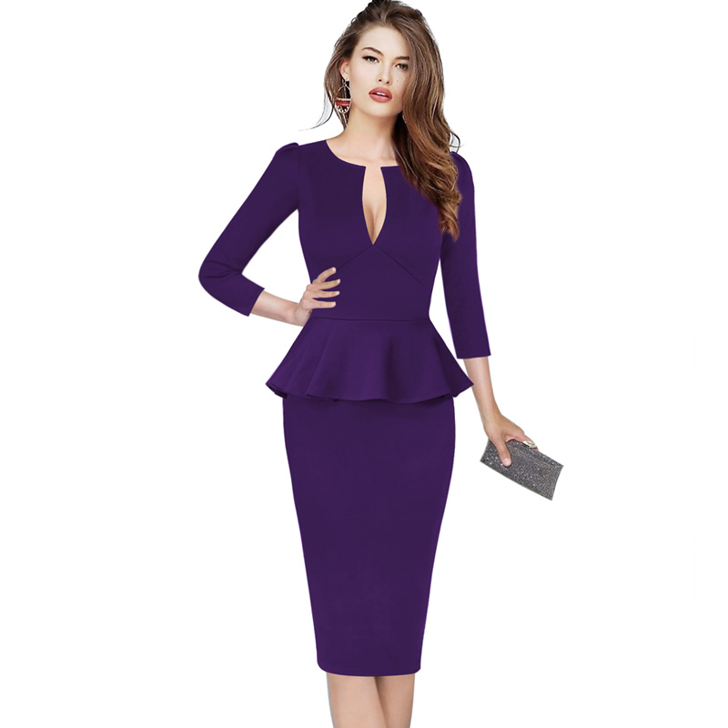 4c22736716 ... Vfemage Womens Sexy Deep V Neck Elegant Autumn Peplum Vintage Slim  Casual Cocktail Party Fitted Sheath ...