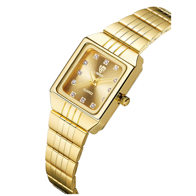Gold Stainless Steel Watches Women Luxury Casual Clock Ladies Wrist Couple Watch