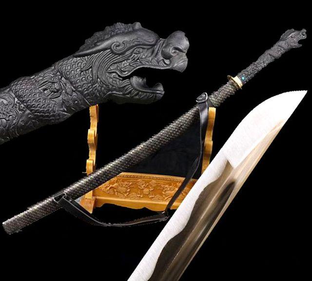 US $132 86 9% OFF|Dragon Handle Japanese Samurai Sword Katana Full Tang  1095 Steel Golden Blade Sharp For Battle/Back Type Leather Scabbard-in  Swords