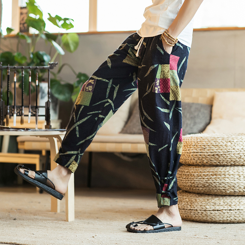 2018 Summer Chinese Style Printing Linen Cotton Loose Tooling Casual Nine Pants Personality Fashion Classic Popular Youth