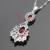 Creado Granate rojo Blanco CZ Sistemas de La Joyería Para Las Mujeres Pendientes Largos de Color Plata Hecha A Mano Collar Colgante Anillos Caja de Regalo Libre