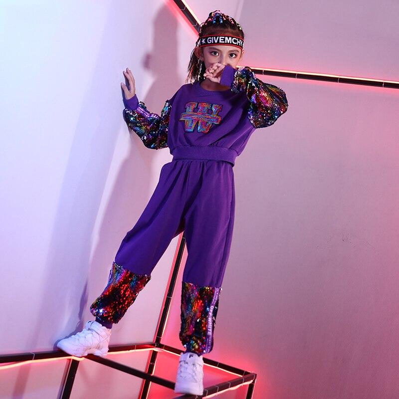 Nouveaux Enfants Jazz Danse Costumes Violet Paillettes hauts Pantalon 2 pièces Filles Rue Danse Vêtements Hip Hop Danse Costumes Enfants DWY1030