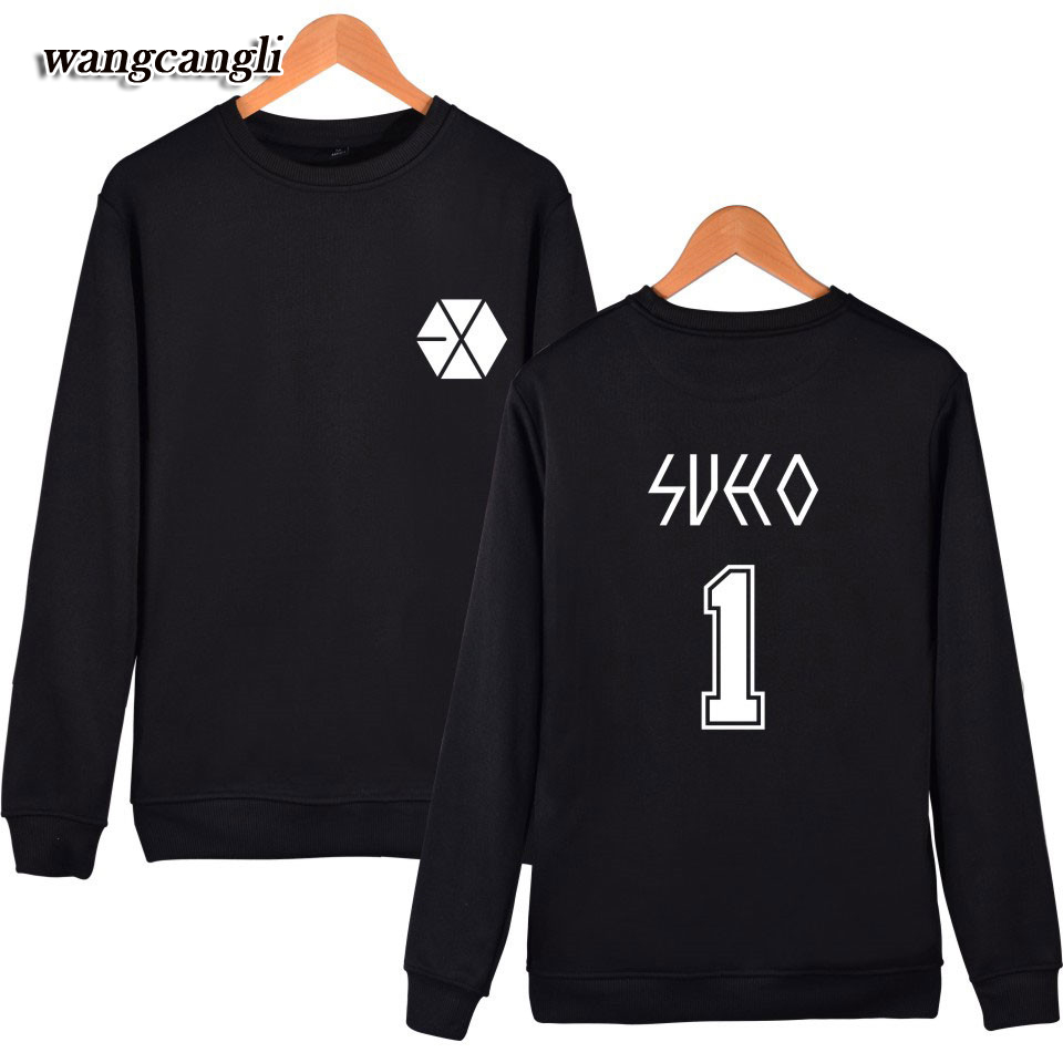 WANGCANGLI Seventeen 2017 EXO Japan concer Men/Women Capless Sweatshirt Hoodies autumn Spring Clothes for Plus Size 4XL