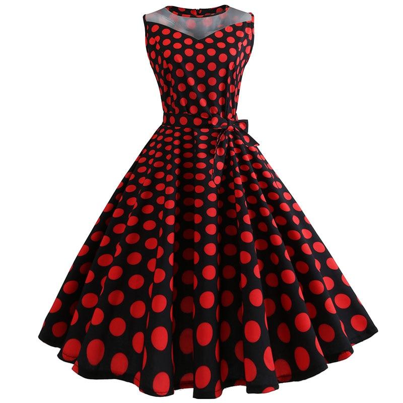 Retro letné párty šaty 1950 s bodkami Swing style (8 variánt) 33