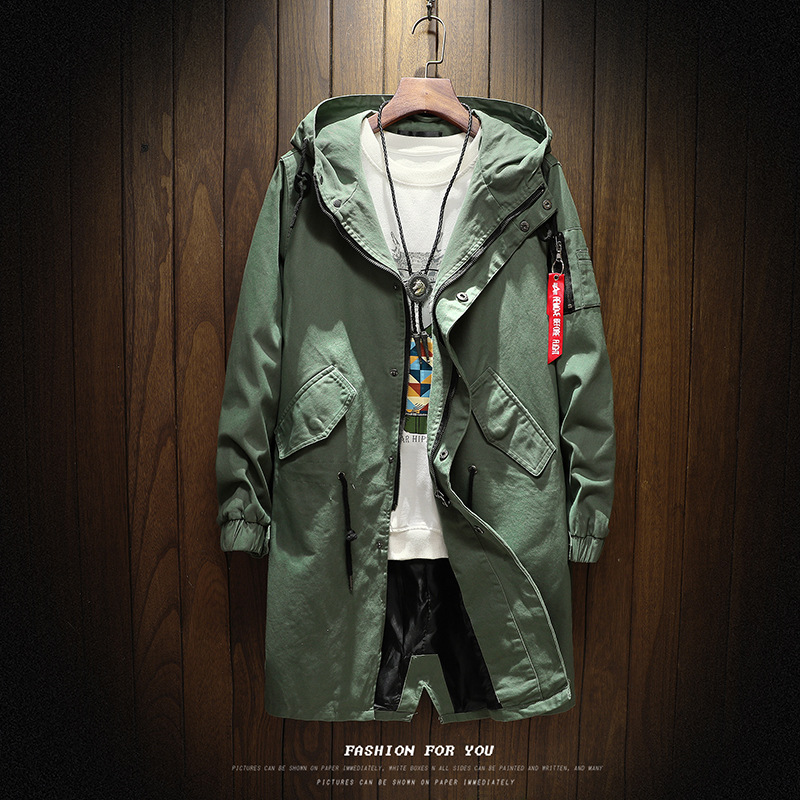 Men's Fashion Long Hooded Outwear jacket Teenager hooded longline   trench   young man high quality clothing man brand windbreaker