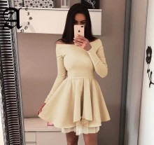 Ameision 2019 New Women Arrival Spring Casual Lace Dress One word collar Long Sleeve Cute Mini Party A-Line Dresses