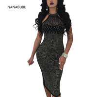 NANABUBU High Quality Paris Fashion Designer Dress Women's Sleeveless Rhinestone Diamonds Embellished Halter Bodycon Dresses