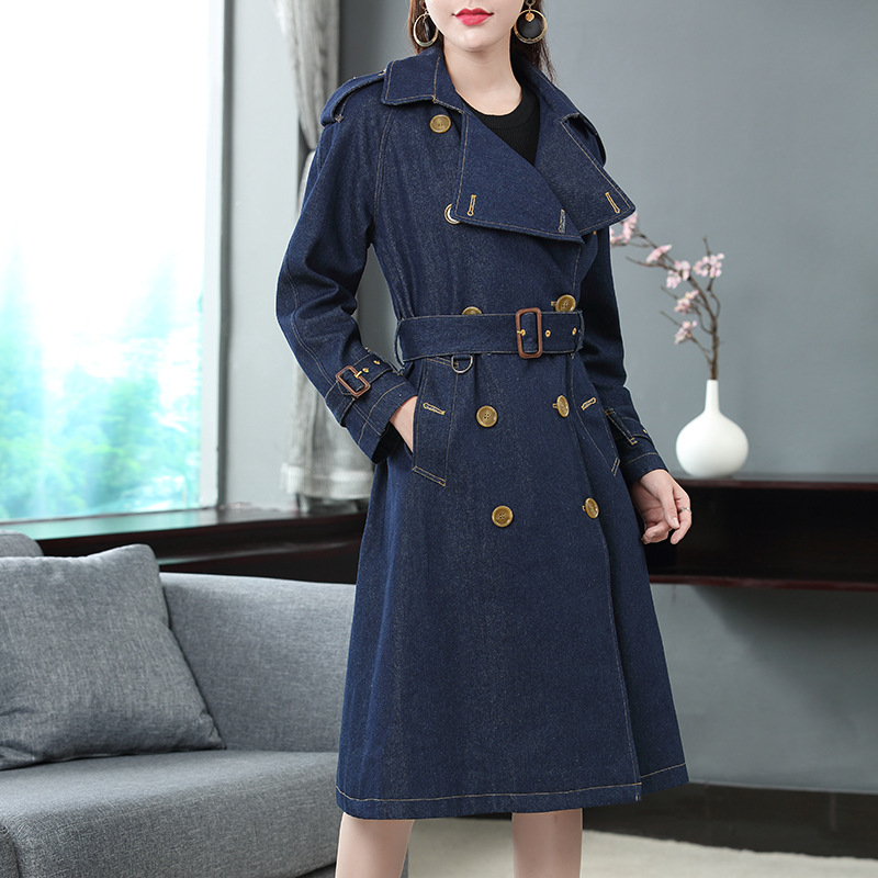 Solid full sleeve turn down collar slim jeans long   trench   coats 2018 new double breasted women autumn   trench   long