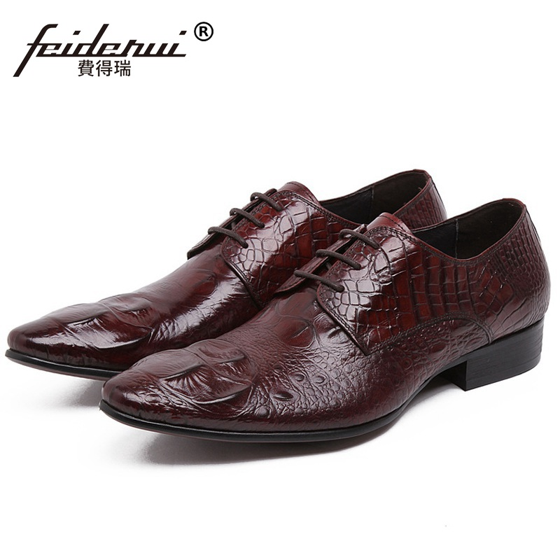 Italian Crocodile Man Wedding Dress Shoes Genuine Leather Handmade Male Oxfords Top Quality Pointed Toe Derby Men's Flats BH39 top quality crocodile grain black oxfords mens dress shoes genuine leather business shoes mens formal wedding shoes