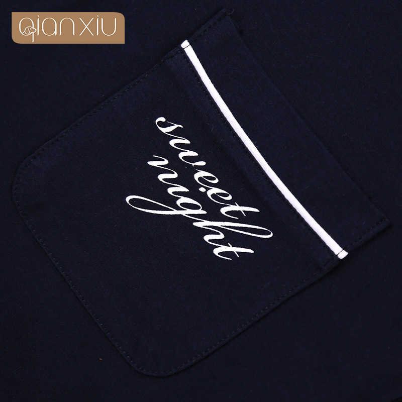 Qianxiu Mannen Mode Knop Casual Homewear Vest Lounge wear slaap bodems marineblauw