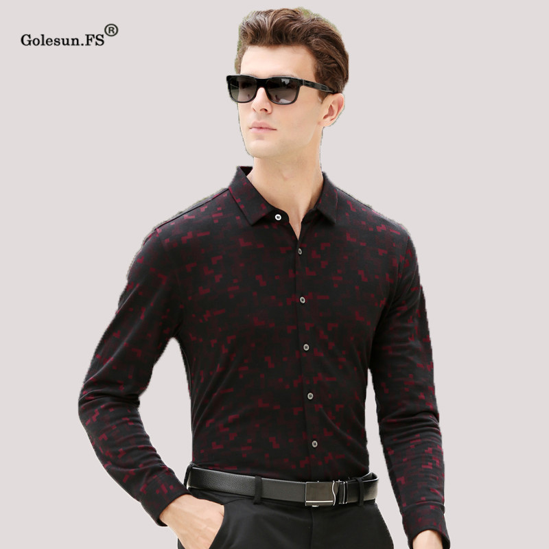 New High Quality Men Autumn Warm Smart Casual   Polo   Shirts Male Classic Long sleeve Top shirts Clothing men XF67825