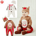 Wholesales 3pcs/lot Christmas Deer Costume Romper+Hats For Baby Boys Newborn Infantil Girls Long Sleeve Jumpsuits Oneise Clothes