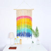 Woven Cloth Tapestries Cotton Tapestry Wall Hanging Macrame Wall 130x45cm Rainbow Tapestry Weave wall decor Handmade Home Decor