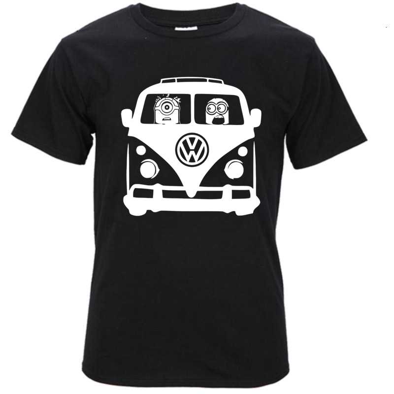 Top quality COTTON o neck minions VW volkswagen print short sleeve T-shirt Top Lycra Cotton Men T shirt for men