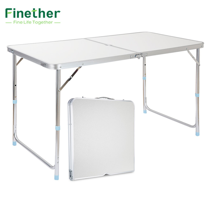 Finether portable aluminum folding outdoor table - Camping table adjustable height ...