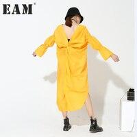 [EAM] 2018 hot nova primavera de volta V-gola alargamento manga longa sólida cor branco amarelo solto vestido tamanho grande moda feminina 5 cores
