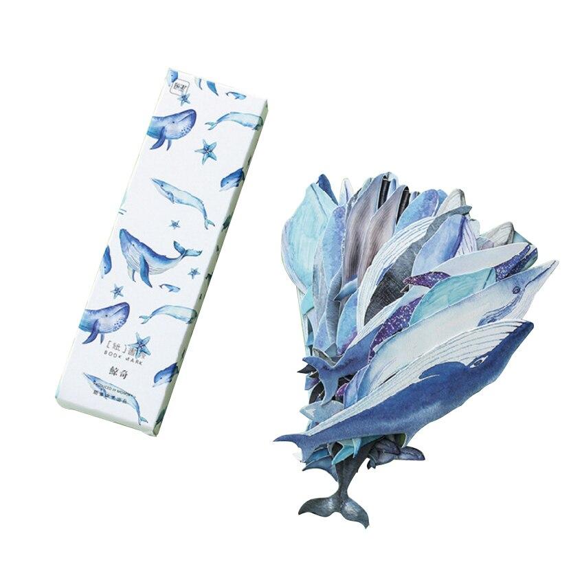 Візьміть 30шт / коробка Cute Whale Paper Bookmark канцелярські закладки DIY книги для дітей подарункові канцелярські товари