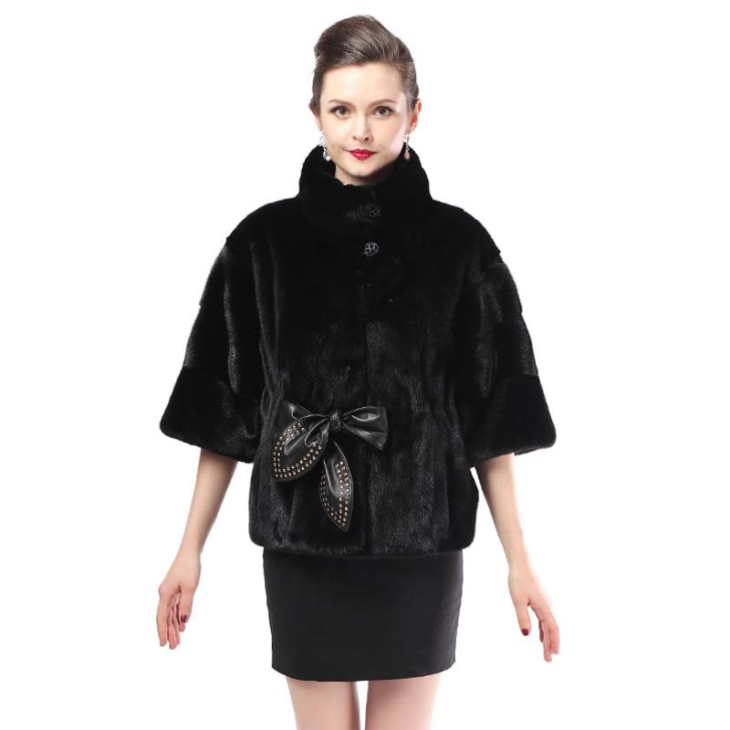 the best attitude 93aaa 4b725 Moda femminile nuovo cappotto di visone, pelle, nera, manica ...