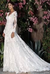 abb0f0fa1f7 Романтический белое свадебное платье V с длинным рукавом открытой спиной кружева  свадебные платья платье-линии
