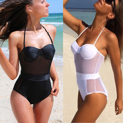 Sexy Women Solid Color One-Piece Beach Swimsuit Bathing Monokini Push Up Padded Bikini Swimwear ingaga one piece swimsuit new 2017 lace up sexy swimwear women monokini floral summer beach wear bathing suits