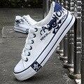 Мужская Мода холст обувь 2016 Студентов Мужского Пола Вскользь Передышку Череп Распечатать повседневная обувь обувь