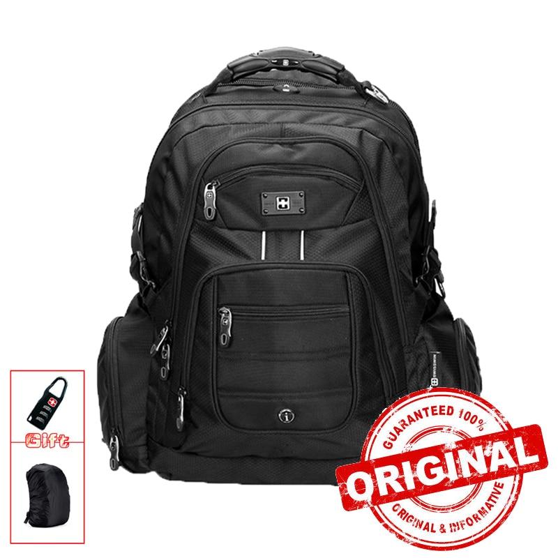 Swisswin 17 Inch Men's Laptop Backpack Waterproof Nylon Notebook Computer Bag High Quality 37L Big Travel Backpack Black SW9801