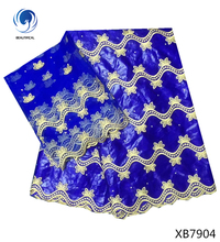 BEAUTIFICAL african bazin riche fabric stones jacquard basin brode getzner 5+2 yards tulle lace scarf for dress 2018 XB79