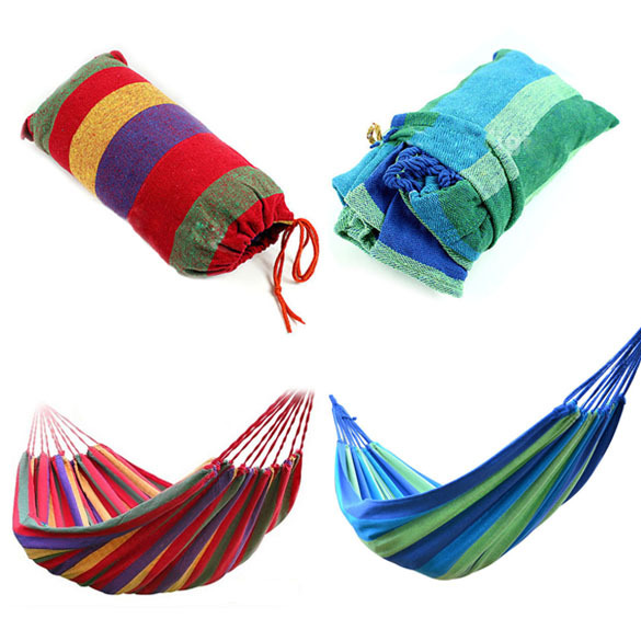 Portable Hammock Outdoor Hammock Garden Sports Home Travel Camping Hunting Sleeping Bed Swing Canvas Stripe Hanging Bed Hammock
