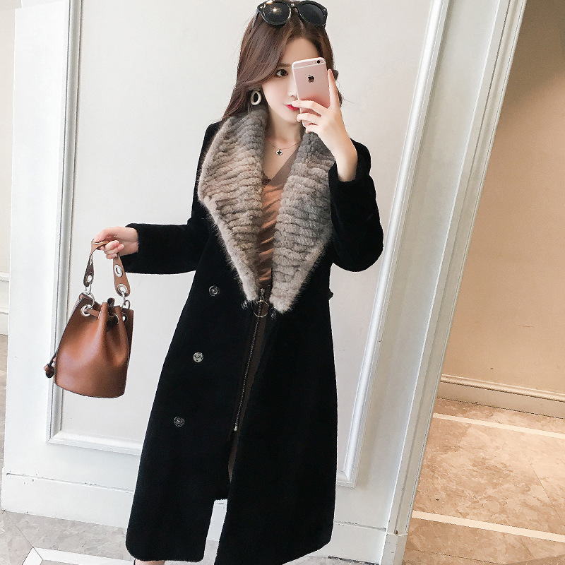 DUOPA ฤดูหนาวผู้หญิงเสื้อ 100% ขนสัตว์ sheepskin shearling coat real mink ขนสัตว์ยาว outwear windbreaker casacos-ใน ขนสัตว์จริง จาก เสื้อผ้าสตรี บน   3