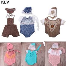 Newborn Photography Props Baby Girl Lace Hat+Romper Infant Photo Shoot Clothes Photo Props Fotografia Accessory 0-1M цена 2017