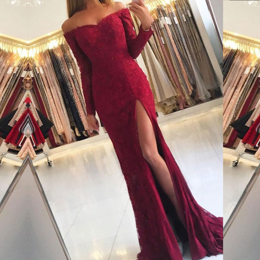2019 Long Sleeve   Prom     Dresses   Mermaid Off the Shoulder Split Front Lace   Prom     Dress   with Beaded Elegant Burgundy Party Gowns