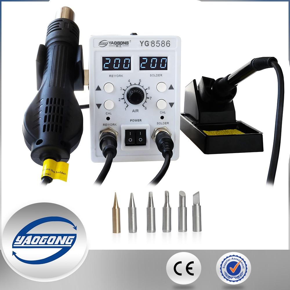 YAOGONG 8586 station de reprise Double numérique 2 Dans 1 smd rework station à air chaud mobile téléphone outils de réparation