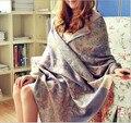 2017 Бесплатная Доставка модный бренд богемный цветочный embrodiery Жаккардовые шарф длинный широкий женщин шарфы бахромой шарф 65*190 см