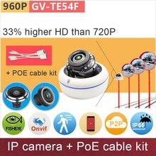 Fisheye 360 градусов панорамный вид HD IP-камера Мини Открытый купольная poe + комплект кабелей 1.3mp безопасности камер видеонаблюдения ganvis GV-TE54F PK
