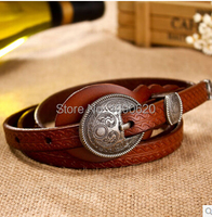 Free Shipping Hot Selling Personalized Genuine Leather Belt Vintage Royal Buckle 4 Colors Women Thin Embossed