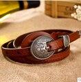 Venta caliente personalizada royal vendimia genuina correa de cuero hebilla de 4 colores mujeres cinturón fino relieve todas correspondan