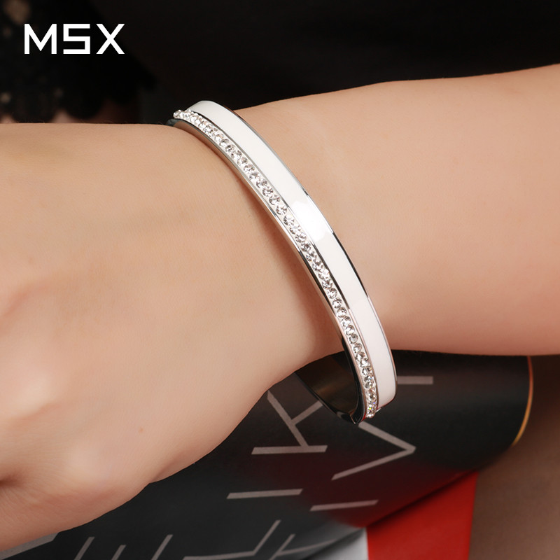 Beauty Stainless Steel Ceramic Resin Women Bracelets Luxury Ladies Crystal Charm Cuff Bangles Wedding Jewelry Gift
