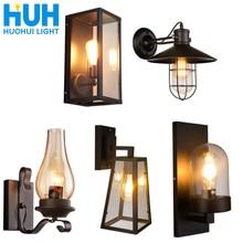 Lámpara de cristal gris Vintage de hierro lámpara de pared de sombra de luz de Edison simplicidad lámpara de hogar Decoración de Loft lámpara dormitorio baño luces