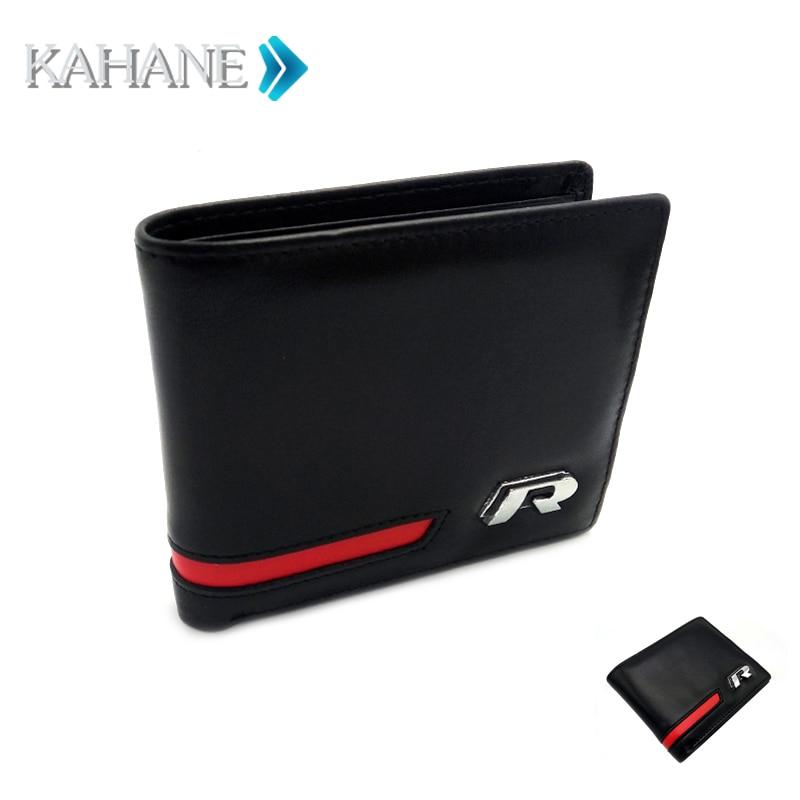 Genuine Leather Car Drivers License Wallet Holder Bag R Log Credit Card Case for VW R