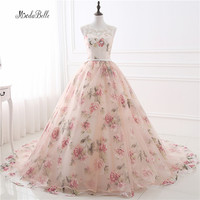 Romantic Floral Long Prom Dresses Ball Gown Applique Galajurken Printing Cheap Prom Gown Formal Party Dresses Vestidos Gala