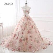 Romantic Floral Long Prom Dresses Ball Gown Applique Galajur